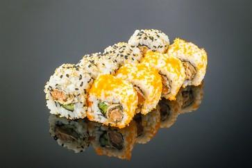 Gebratener Lachs Roll ( 8 St. ) mit gebratener Lachs ,Gurke, Frischkäse ,Teriyake Sauce