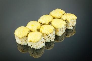 Gebackene Rucola Roll (8 Stück)  mit Rucola, Avocado, Frischkäse und Sesam
