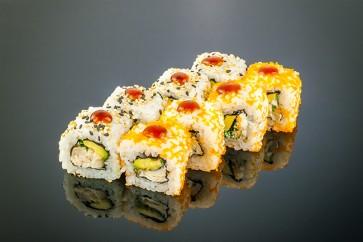 Chicken Teriyaki Sauce Roll  (8 Stück)  mit gegrilltem Hähnchen, Avocado, Frühlingszwiebeln, Teriyaki-Sauce und Sauce