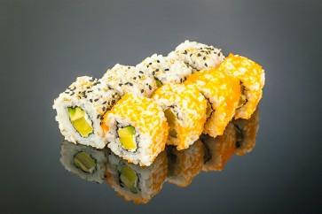 Rettich Roll (8 Stück)  mit Rettich, Frischkäse, Avocado und Sesam