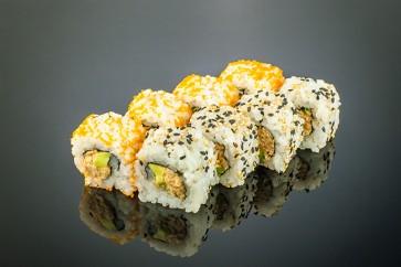 Yamoto Roll  (8 Stück)  mit gebratenem Thunfisch, Avocado, Frühlingszwiebeln und Cocktailmayonnaise