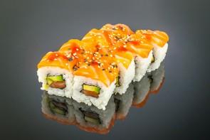 Lachs Roll ( 8 Stück)  mit Lachs, Avocado und Lachs on Top